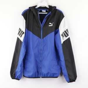 Puma Mens Small Big Logo Windbreaker Jacket Blue